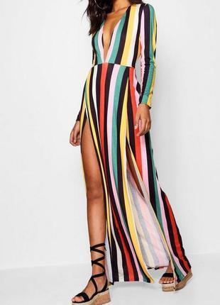 Макси-платье в полоску с разрезами по бокам и глубоким вырезом из коллекции «tall»