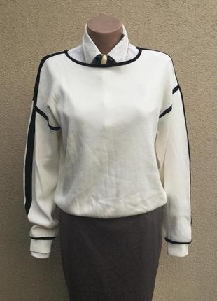 Трикотаж,вискоза,белая кофта с чёрными лампасами,свитер,джемпер,большой размер