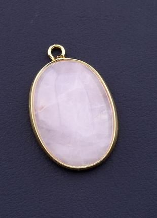 Кулон розовый кварц 30x18мм.  0669250