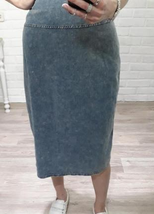 Трендовая стильная джинсовая юбка