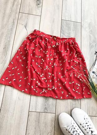 Легкая летняя юбка на пуговицах спереди в цветочек цветочный принт