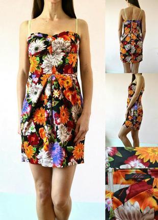 Яркое платье бюстье, плотный хлопок, держит форму3 фото