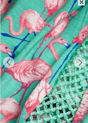 Яркий стильный ромпер комбинезон песочник в принт фламинго рр 12/14/164 фото