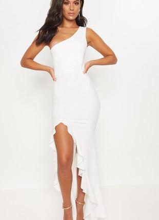 Торжественное белое платье макси на одно плечо с разрезом на ноге, на выпускной, свадьбы