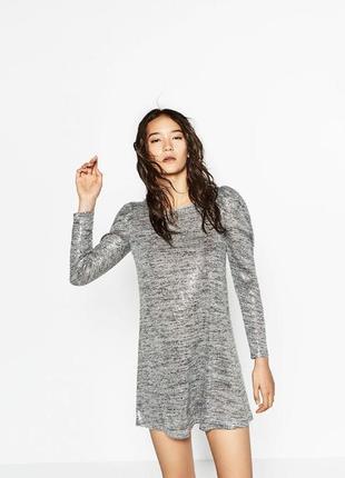 Красивенное блестящее платье zara с паетками в ткани! серебристый металлик!