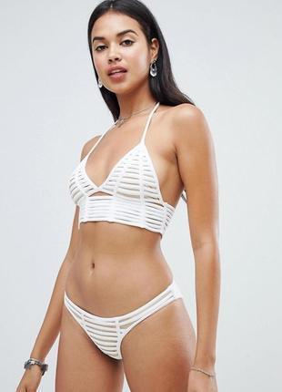 Белый купальник бикини с решетчатой отделкой signature 8