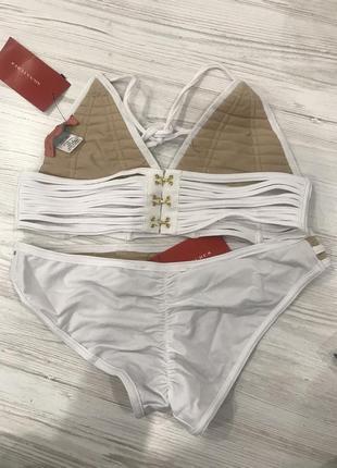 Белый купальник бикини с решетчатой отделкой signature 86 фото