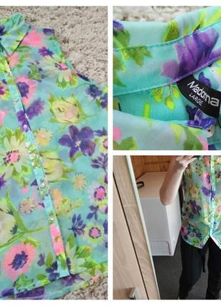 Яркая шифоновая блуза в цветочный принт, madonna, p. l