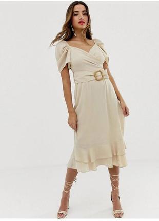 Платье asos  миди с вырезом сердечком и оборкой
