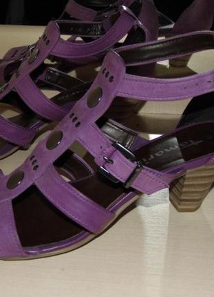 Босоножки кожаные сандалии на каблуке - tamaris -39 размер-германия