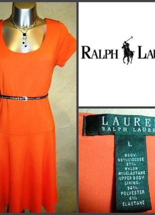 Стильное трикотажное вискозное оранжевое удобное платье миди  m-l