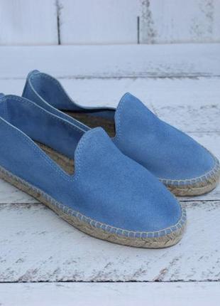 36 22,5см замшевые голубые эспадрильи на плетеной подошве