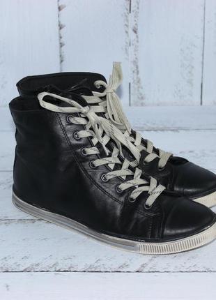 Bianco кожаные высокие кеды, ботинки на шнуровке