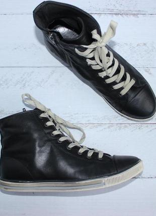 Bianco кожаные высокие кеды, ботинки на шнуровке5 фото