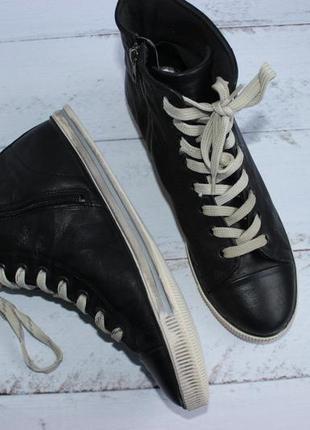 Bianco кожаные высокие кеды, ботинки на шнуровке4 фото