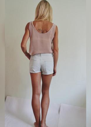 Мятные джинсовые шорты3 фото