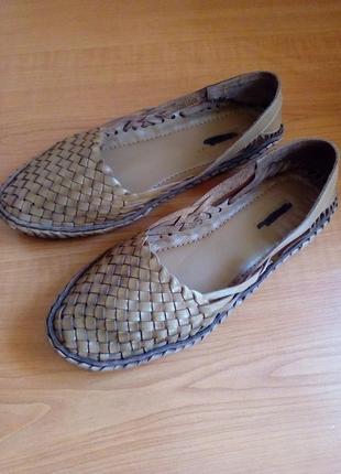 Кожаные плетёные балетки, сандалии