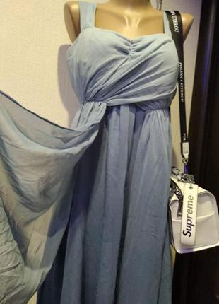Платье сарафан тонкое летящее крепдешиновое вечернее голубое