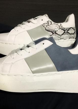 36-41 размер белые кроссовки криперы с вставками
