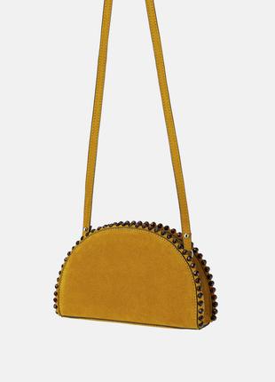 Новая замшевая  горчичная сумка кросс боди