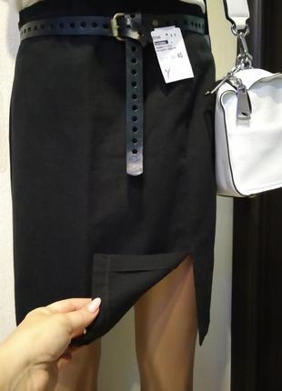 Новая брэндовая мини юбка черная прямая стрейч франция