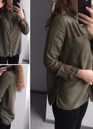 Стильная рубашка цвета хаки от бренда h&m