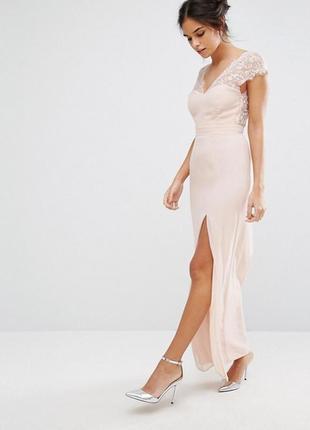20a312f20bb Эксклюзивное платье макси в пол с с кружевной отделкой elise ryan a1177