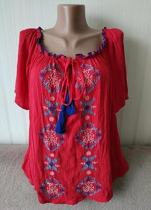 Блузка вышиванка красная, р 12, вискоза, идеальное состояние
