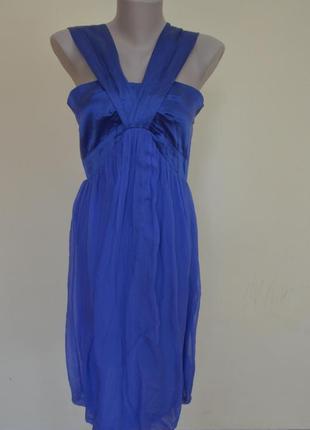 Очень красивое платье из натурального шелка василькового цвета