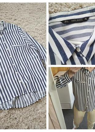Стильная блуза рубашка в полоску, zara, p. 12