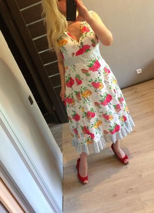Яркое хлопковое цветочное платье р.л