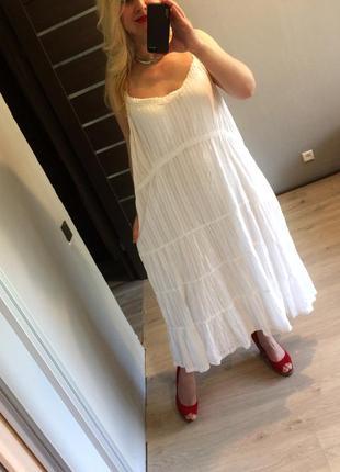 Белое хлопковое платье с прошвой bonmarche р.22