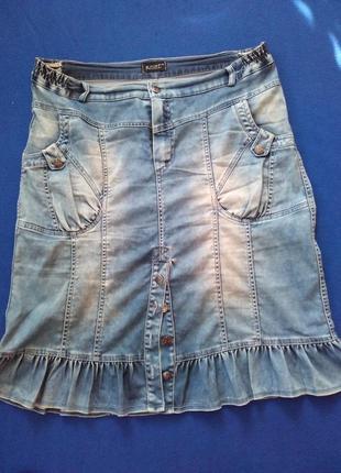 Джинсовая стильная юбка, размер 54