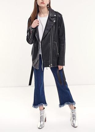 Чёрная новая удлинённая косуха кожанка куртка оверсайз