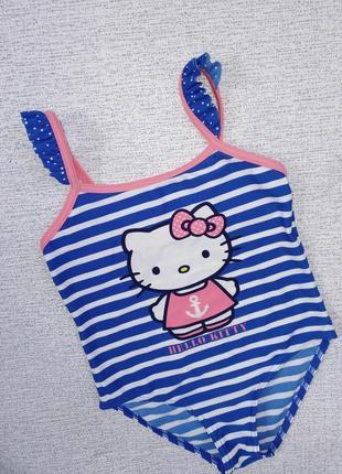 Купальник в полоску на девочку 👙 hello kitty