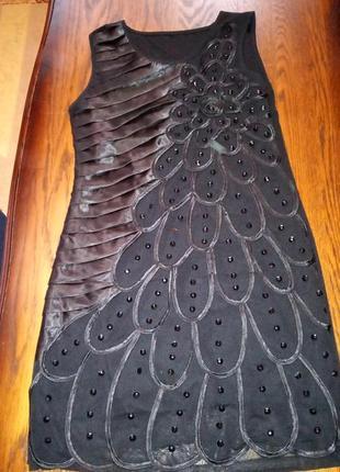 Черное коктейльное платье мини tian mei