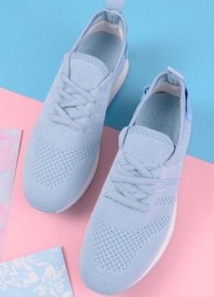 Голубые летние кроссовки в сеточку кеды мокасины3 фото