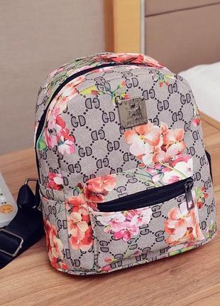 Рюкзак мини цветочный серый компактный принт клетка