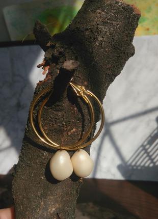 Серьги кольца с жемчужинками жемчуг бароко
