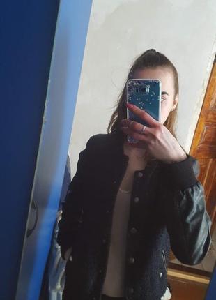 Бомбер женский,женская куртка с кожаными рукавами