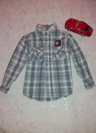 Стильная рубашка в клетку на 4-5 годиков topolino