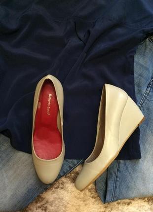 Фирменные кожаные туфли roberto santi italy,мятные туфельки на танкетке+подарок
