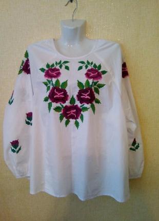 Блуза блузка вышиванка р.54-56 р.xl ручная работа