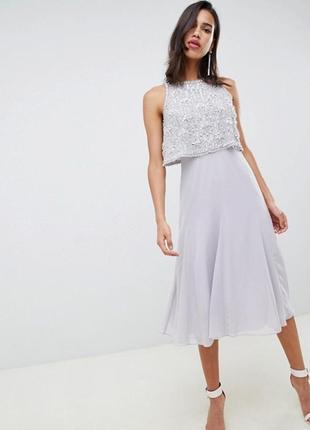 Платье миди с отделкой на топе asos design