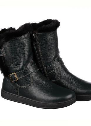 Чёрные детские ботинки с мехом