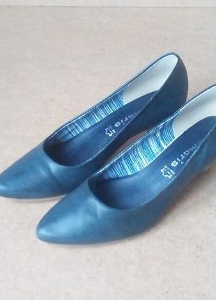 Туфли tamaris кожаные классика серые средний каблук