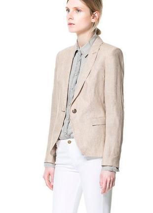 Обнова! блейзер удлиненный пиджак жакет бежевый лён льняной качество бренд zara