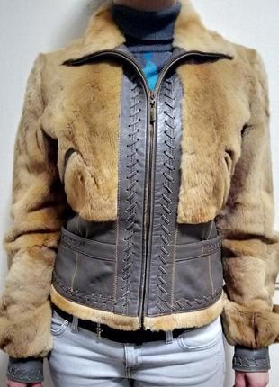Шуба натуральный мех и кожа roberto cavalli