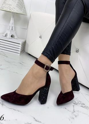 Шикарные туфли из натуральной замши на блестящем каблуке