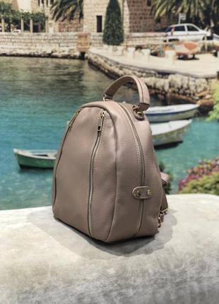 Бомбезный кожаный рюкзак италия пудра